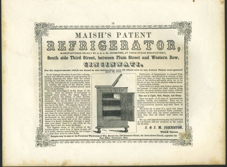 American Commercial Advertising - Maish's Patent Refrigerator.