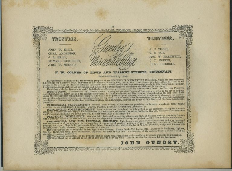 American Commercial Advertising - Gundry's Mercantile College.