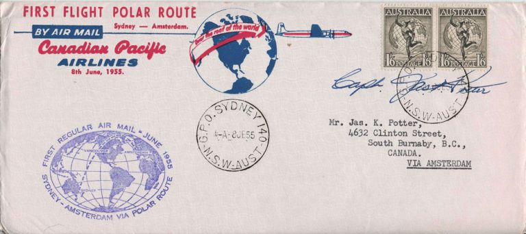 First Flight Polar Route over the North Pole from Sydney (Aust) to Amsterdam. Canadian Pacific Airlines.