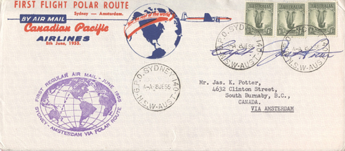 First Flight Polar Route. Sydney - Amsterdam By Air Mail. Canadian Pacific Airlines.