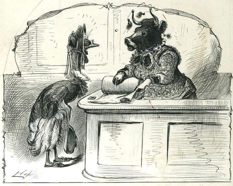 A Lost Art   Original pen sketch of an emu and a cow dressed as women in  Victorian dress by Livingston Hopkins on Antipodean Books
