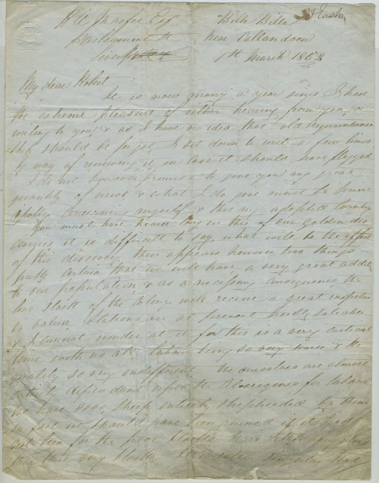Autograph letter from Mr. H. Easton, Billa Billa, near Callandoon to Robert Andrew Macfie, discussing Darling Downs gold discoveries and importance of the aboriginal work force. Queensland, Aborigines.