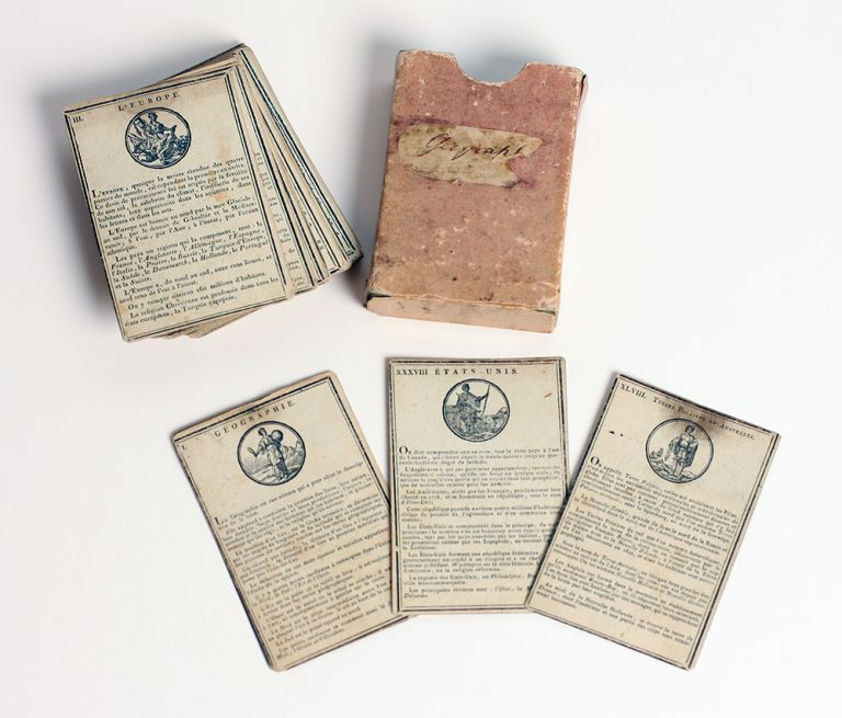 'Geographie'. French children's geographical card game dating from the period of the French Revolution, with cards pertaining to Terres Australes and Etats Unis. French Revolution, American Revolution.