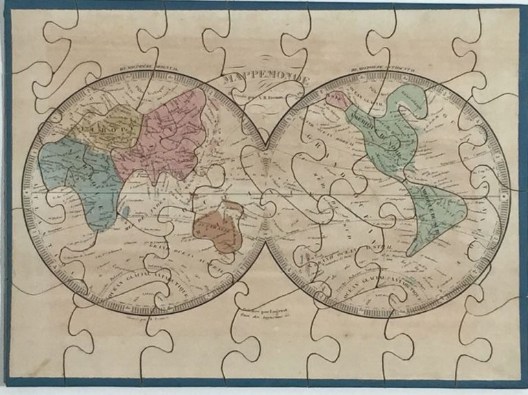 """Map Puzzles for Children """"Atlas Geographique"""" including North America showing Texas as an independent state. A. R. Fremin."""