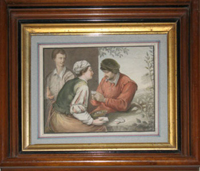 "Card Players. Water color painting signed ""Robert Theer 1847"" Robert Theer."