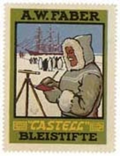 World Poster Stamp, most likely advertising Amundsen's expedition. Roald Amundsen.