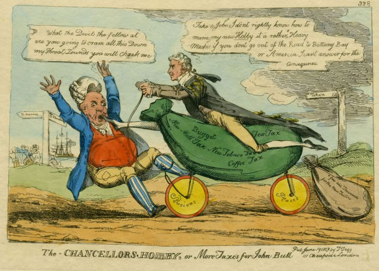 The Chancellors' Hobby, or More Taxes for John Bull. Caricature, W. Thomas Tegg Heath, pub.
