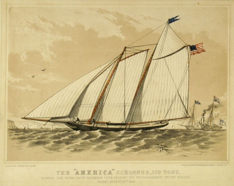 """The """" America"""" Schooner, 170 Tons, Winning the Royal Yacht Squadron Cup & Passing the """"Victoria & Albert"""" Off the Needles Friday, August 22nd 1851. America's Cup, Augustus Butler."""