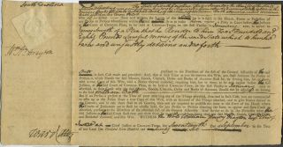 Revolutionary War period writ in which James Smyth demands 480 pounds from William Bath, pilot,...