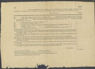 Virginia tax form for 1857. Virginia county tax receipt
