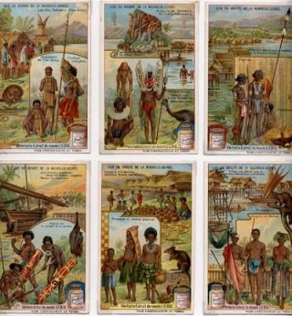 Iles du Groupe de la Nouvelle-Guinee. A set of 6 Liebig advertising cards.