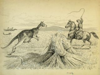 Boy's Hunting Book [with] the original pen and ink sketch for the kangaroo illustration....