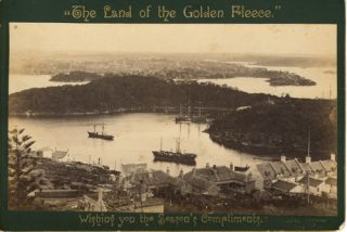 "Albumen photograph, Balmain from Berry's Bay, one of ""The Land of the Golden Fleece"""