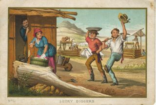 """""""Lucky Diggers"""", chromolithograph card of gold miners."""