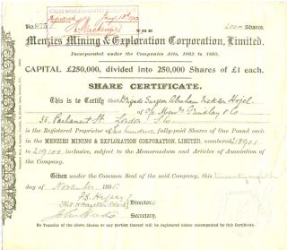 Menzies Mining & Exploration Corporation, Limited. N. Coolgardie, Western Australia, Share...