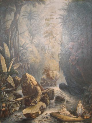 The Mountain Stream. (Indians reposing).
