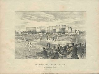 International Cricket Match at Kennington Oval, Test match against Australia lithograph. Cricket