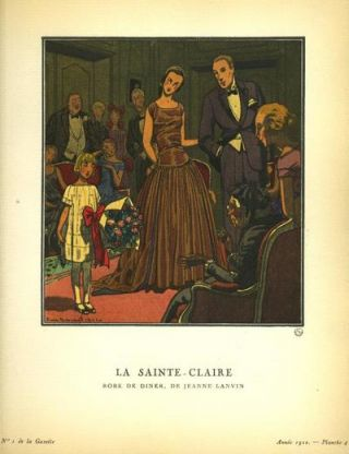 La Sainte-Claire: Robe De Diner, De Jeanne Lanvin Print from the Gazette du Bon Ton. Pierre Brissaud