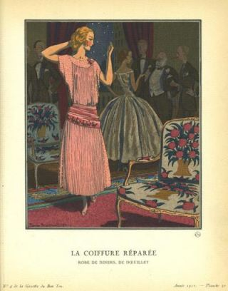 La Coiffure Reparee: Robe de Diners, De Doeuillet Print from the Gazette du Bon Ton
