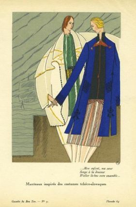 Manteaux inspires des costumes tcheco-slovaques. Print from the Gazette du Bon Ton