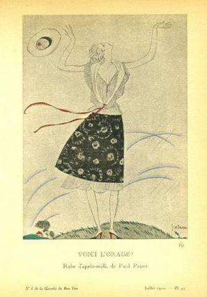 Voici L'Orage! : Robe d'apres-midi, de Paul Poiret. Print from the Gazette du Bon Ton. George Lepape