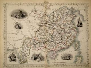 China and Birmah, antique map with vignette views. J. Tallis Rapkin, John