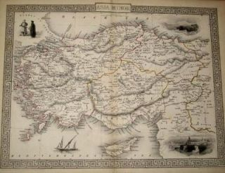 Asia Minor, antique map with vignette views. J. Tallis Rapkin, John