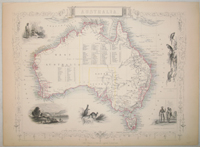 Australia, antique map with vignette views. J. Tallis Rapkin, John