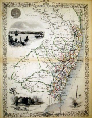 New South Wales, antique map with vignette views. J. Tallis Rapkin, John