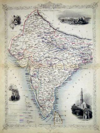 British India, antique map with vignette views. J. Tallis Rapkin, John