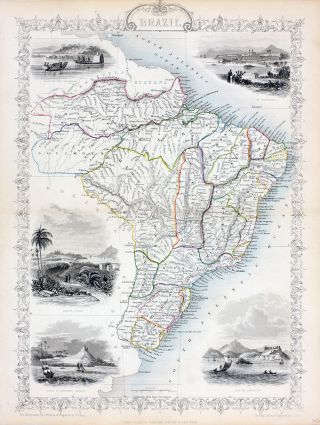 Brazil, antique map with vignette views. J. Tallis Rapkin, John