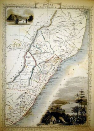 Natal and Kaffraria, antique map with vignette views. J. Tallis Rapkin, John