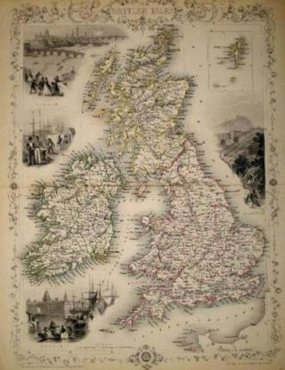 The British Isles, antique map with vignette views. J. Tallis Rapkin, John