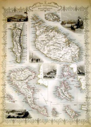 British Possessions in the Mediterranean, antique map with vignette views. J. Tallis Rapkin, John