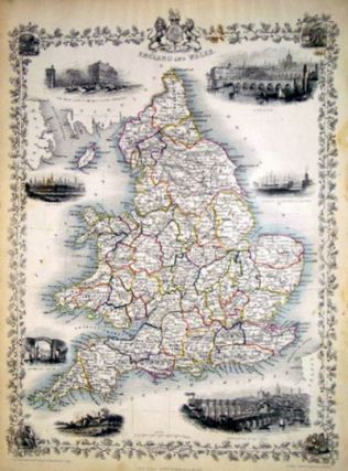 England and Wales, antique map with vignette views. J. Tallis Rapkin, John