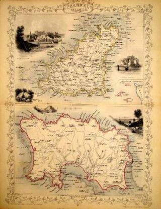 Channel Islands, antique map with vignette views. J. Tallis Rapkin, John