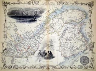 East Canada and New Brunswick, antique map with vignette views. J. Tallis Rapkin, John