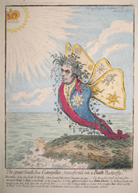 The great South Sea Caterpillar, transform'd into a Bath Butterfly. Joseph Banks, James Gillray.