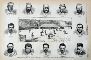 The Cricket Match between the Australians and the New Yorkers, with Portraits of the Australians....