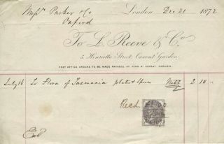 "Invoice for ""Flora of Tasmania"", plates and spec...n (sic). Botany, Tasmania, Reeve, L. Co"