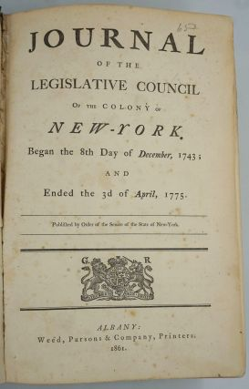 Journal of the Legislative Council of the Colony of New York. Began the 8th Day of December,...