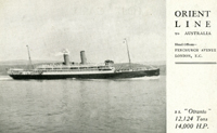"Orient Line to Australia, post card with S. S. ""Otranto"""