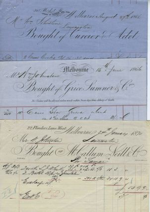 Invoices for wine, rum, tobacco, coffee, etc dated 1866 - 1873 from Melbourne merchants to Mr. William Johnstone of Launceston.