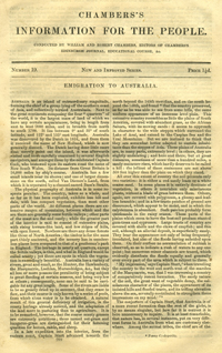 Chambers's Information for the People, Number 19, Emigration to Australia. William and Robert...