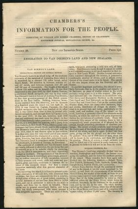Chambers's Information for the People, Number 20, Emigration to Van Diemen's Land and New...