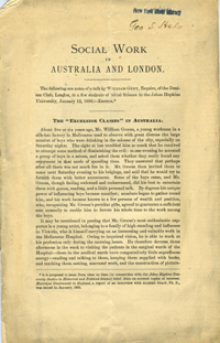 Social Work in Australia and London. Pamphlet. William Grey