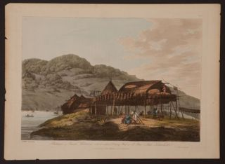 Balagans or summer Habitations, with the method of Drying Fish at St. Peter & Paul. Kamtschatka. John Webber.
