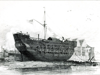 The Discovery, Convict-Ship (lying at Deptford), etching. Edward William Cooke