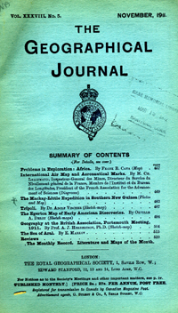 The Journal of the Royal Geographical Society, Monthly Issue for November 1911. Royal...