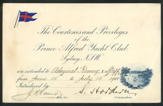 The Courtesies and Privileges of the Prince Alfred Yacht Club Sydney, N.S.W. Australian Federation